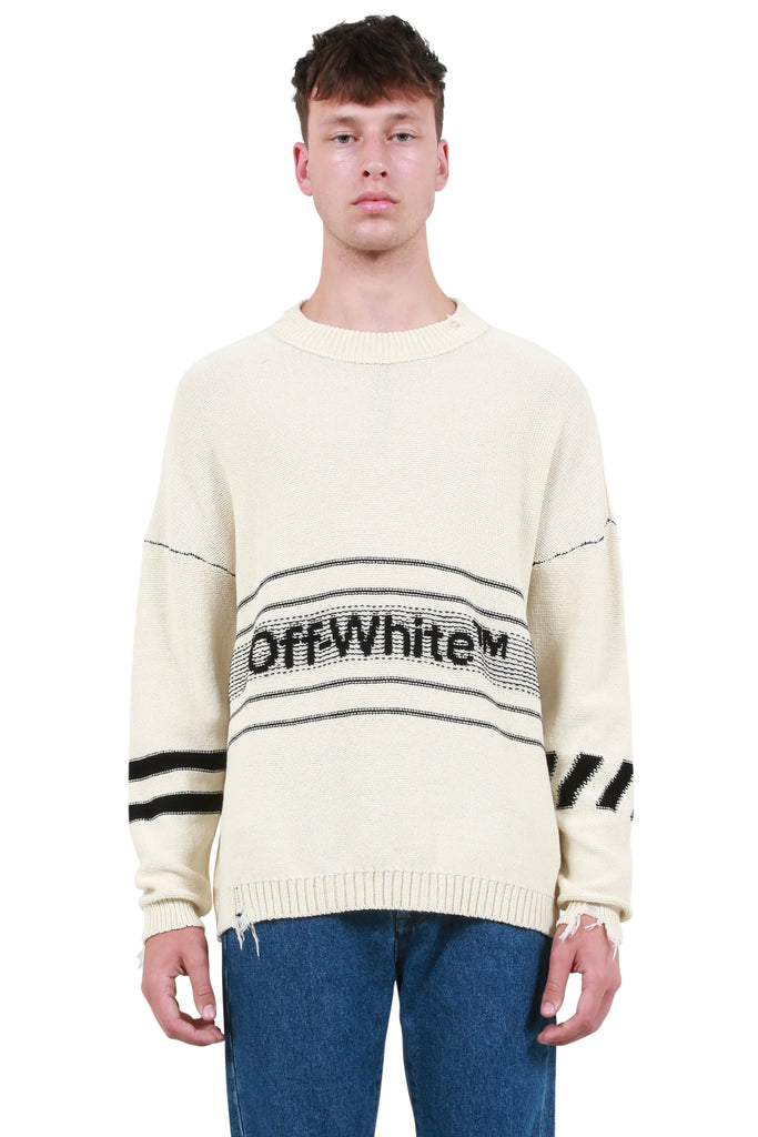 OFF-WHITE: Cotton Logo Knit Sweater - Off White | LESSONS