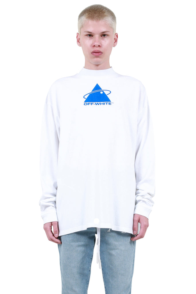 Triangle Planet Mock Neck Long Sleeve - White
