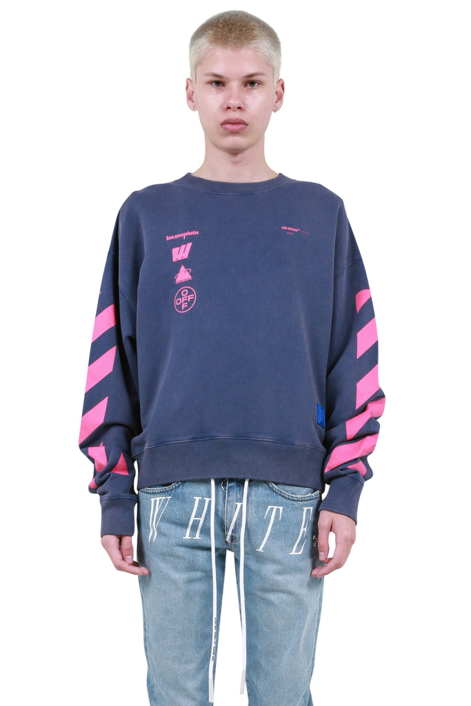 OFF-WHITE: Diagonal Mariana De Silva Crewneck - Blue | LESSONS