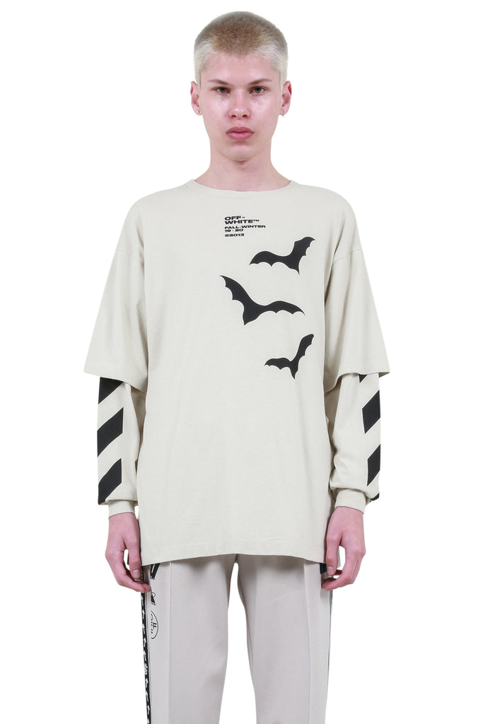 Diagonal Bats Double Sleeve T-Shirt - Beige