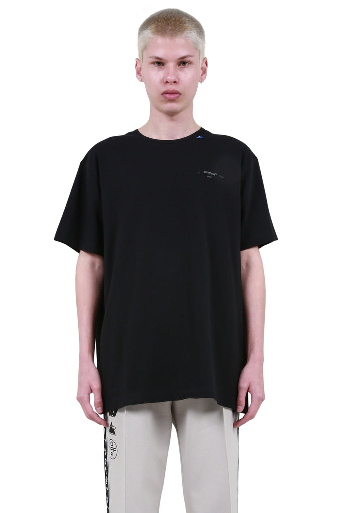 OFF-WHITE: Backbone Oversized T-Shirt - Black/Silver | LESSONS
