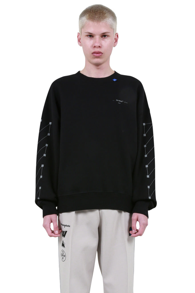 OFF-WHITE: Diagonal Backbone Oversized Crewneck - Black | LESSONS