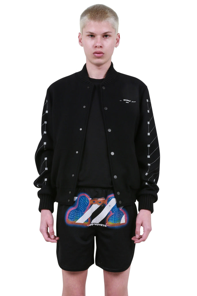 Embroidered Skinny Varsity Jacket - Black/Silver