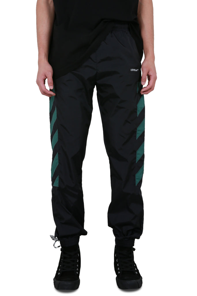 Diagonal Nylon Trackpants - Black