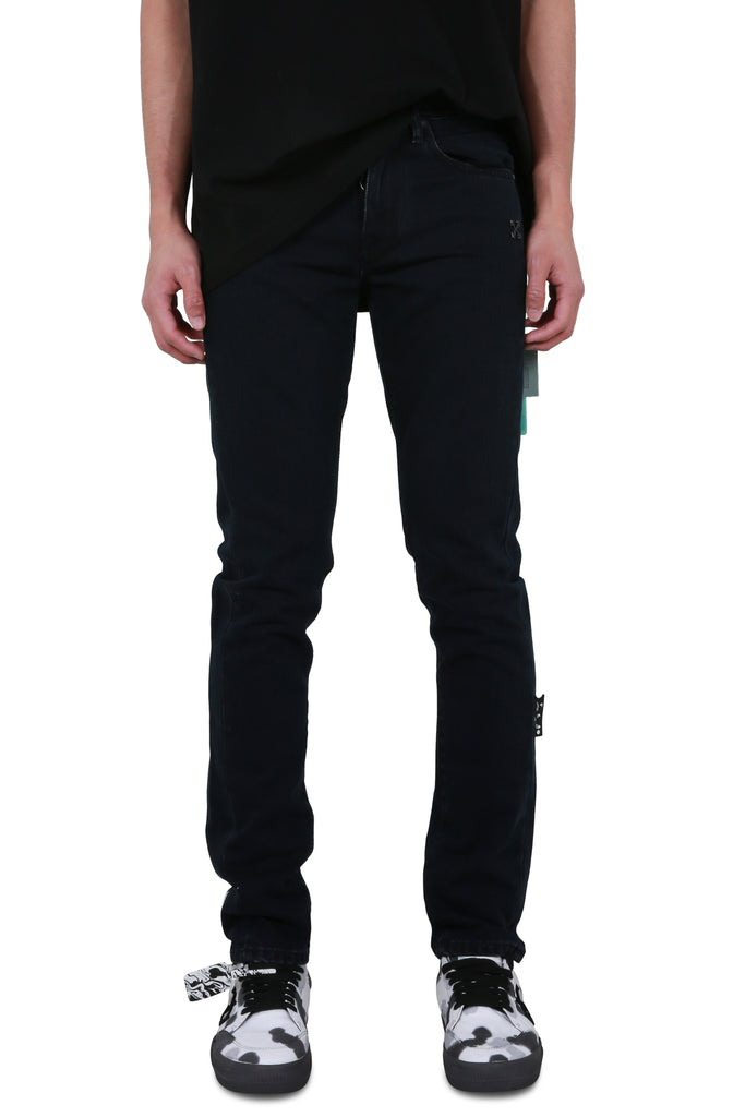 Diagonal Eco Slim Jeans - Black/White