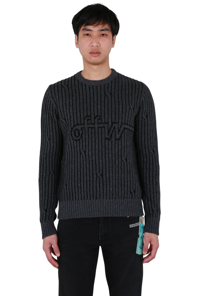Cabled Crewneck - Dark Grey