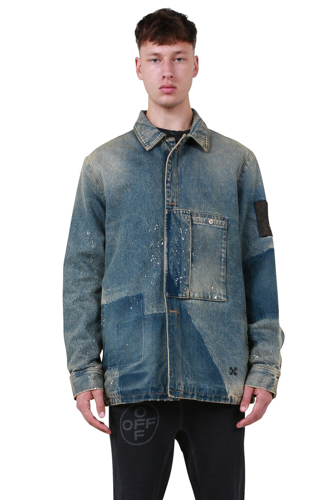 OFF-WHITE: Denim Patch Pocket Jacket - New Vintage Black | LESSONS