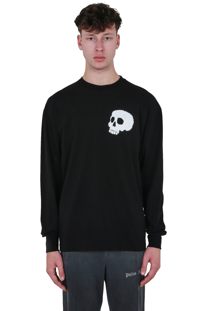 Skull Long Sleeve T-shirt - Black/White