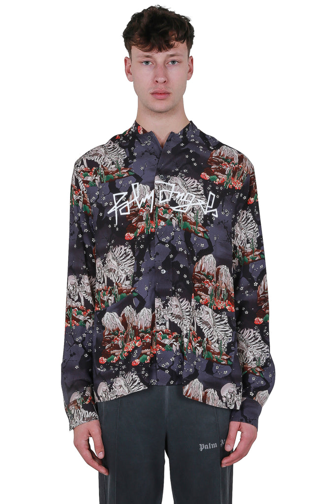 Skull Mandarin Shirt - Black/Multi