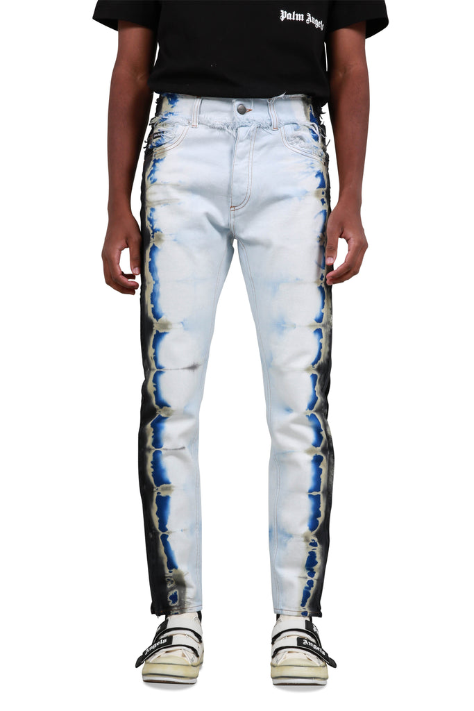 Tie Dye 5 Pocket Bull Denim - White/Blue