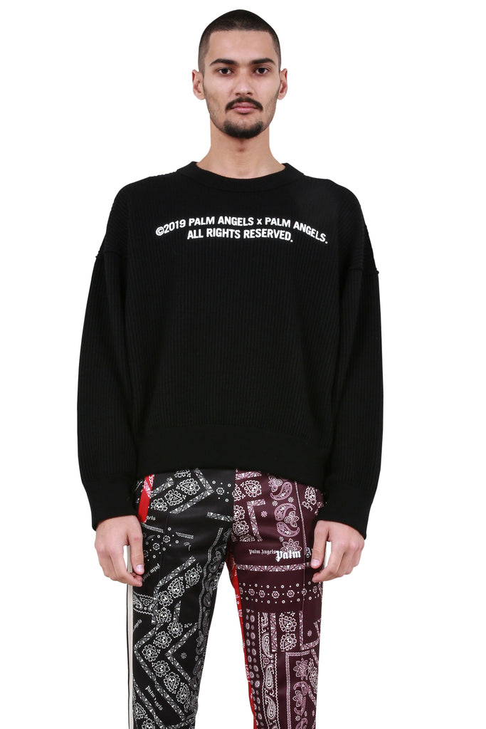 PALM ANGELS: 'Palm x Palm' Waffle Sweater - Black | LESSONS