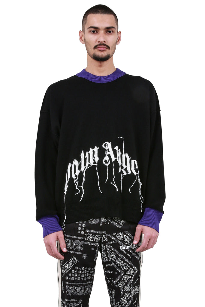 PALM ANGELS: Arch Logo Sweater - Black | LESSONS