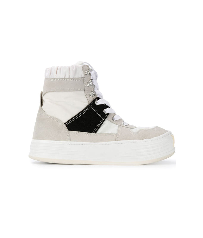 Nylon Suede Snow High Top - White/Black