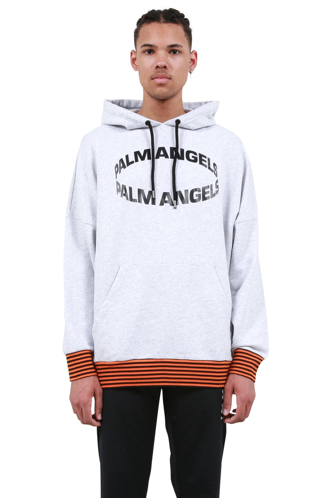 PALM ANGELS: Circle Oversized Hoodie - Melange Grey | LESSONS