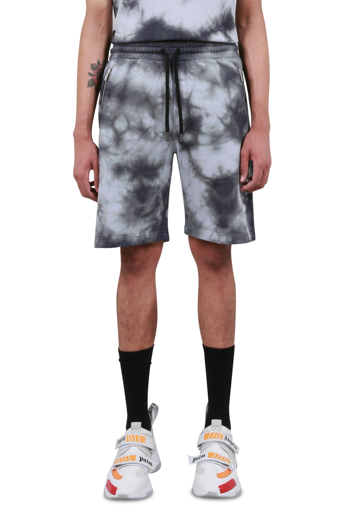 Logo Over Jogging Shorts - Black Tie Dye