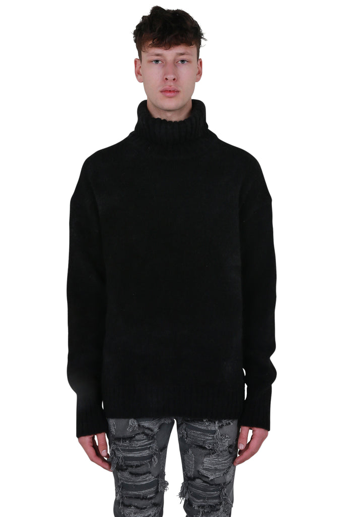 Tie Dye Roll Neck - Washed Black