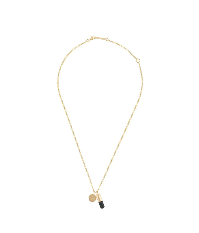 Pill Charm Necklace - Gold/Black
