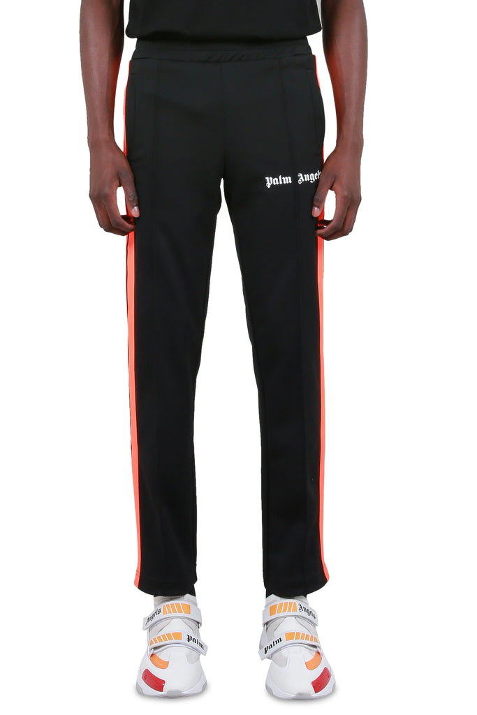 PALM ANGELS: Fluoro Track Pants - Black/Fluoro Orange | LESSONS