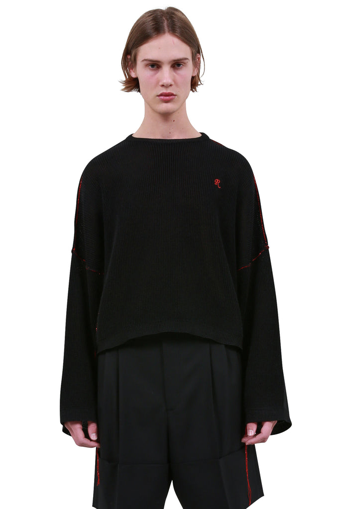 RAF SIMONS: Cropped Sweater - Black | LESSONS