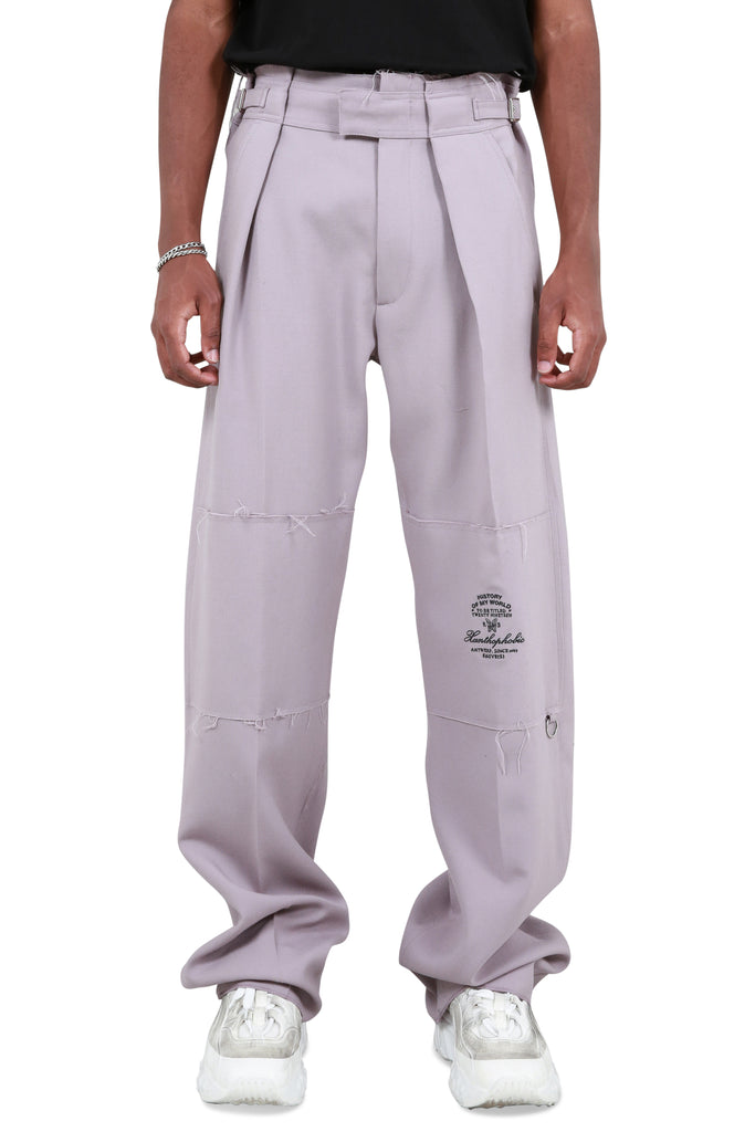Embroidered Wide Fit Pants - Lilac