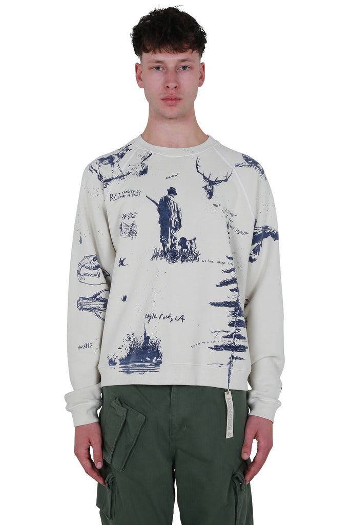 Hand Drawn All Over Print Crewneck Sweatshirt - White
