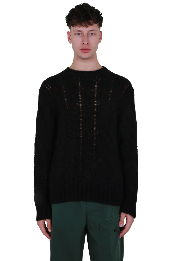 Melange Cable-Knit Sweater - Black/Burgundy