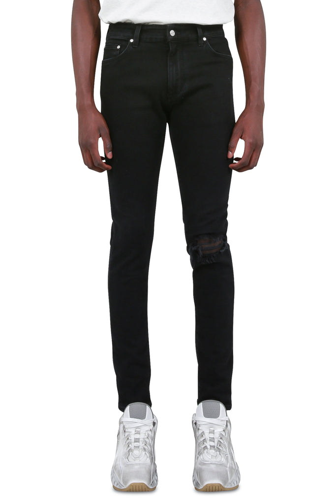 REPRESENT CLO: Blown Knee Denim - Black | LESSONS