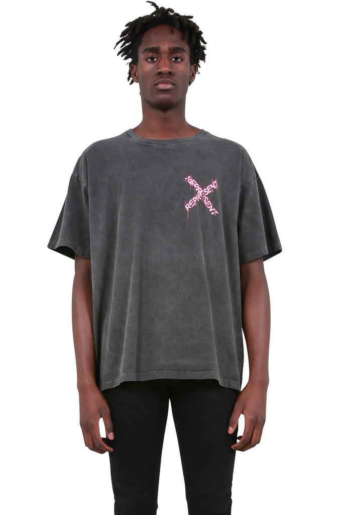 LESSONS: Destroyed Logo T-Shirt - Washed Granite/Pink | LESSONS