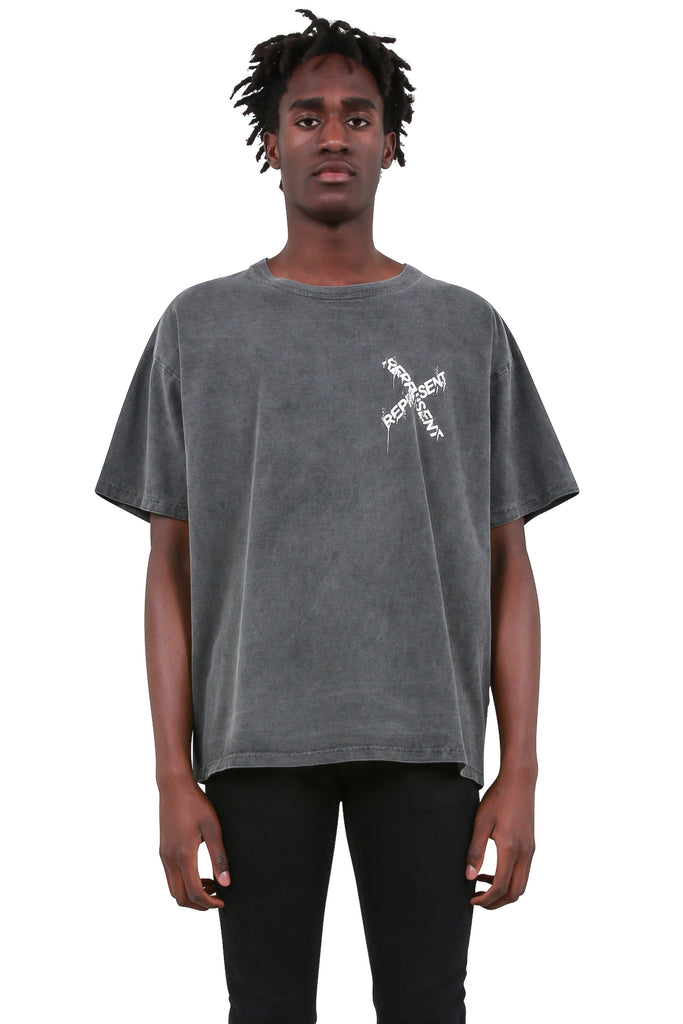 REPRESENT CLO: Destroyed Logo T-Shirt - Washed Granite/White | LESSONS