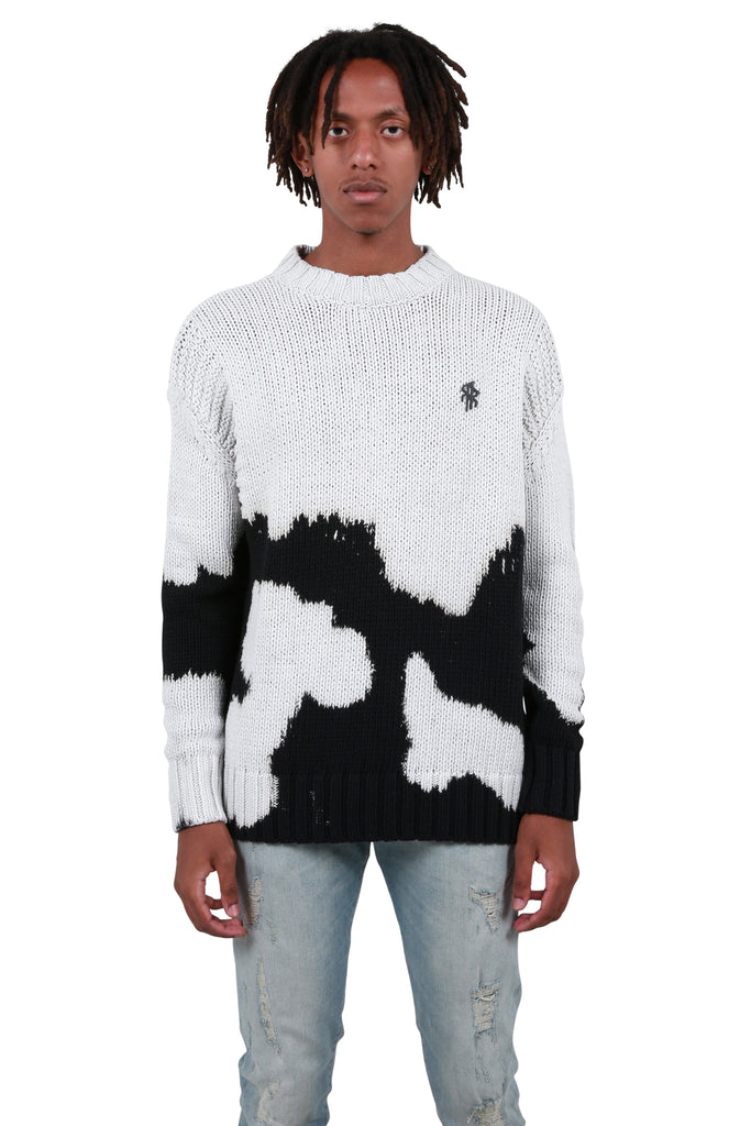 Loose Knit Sweater - Vintage White/Black