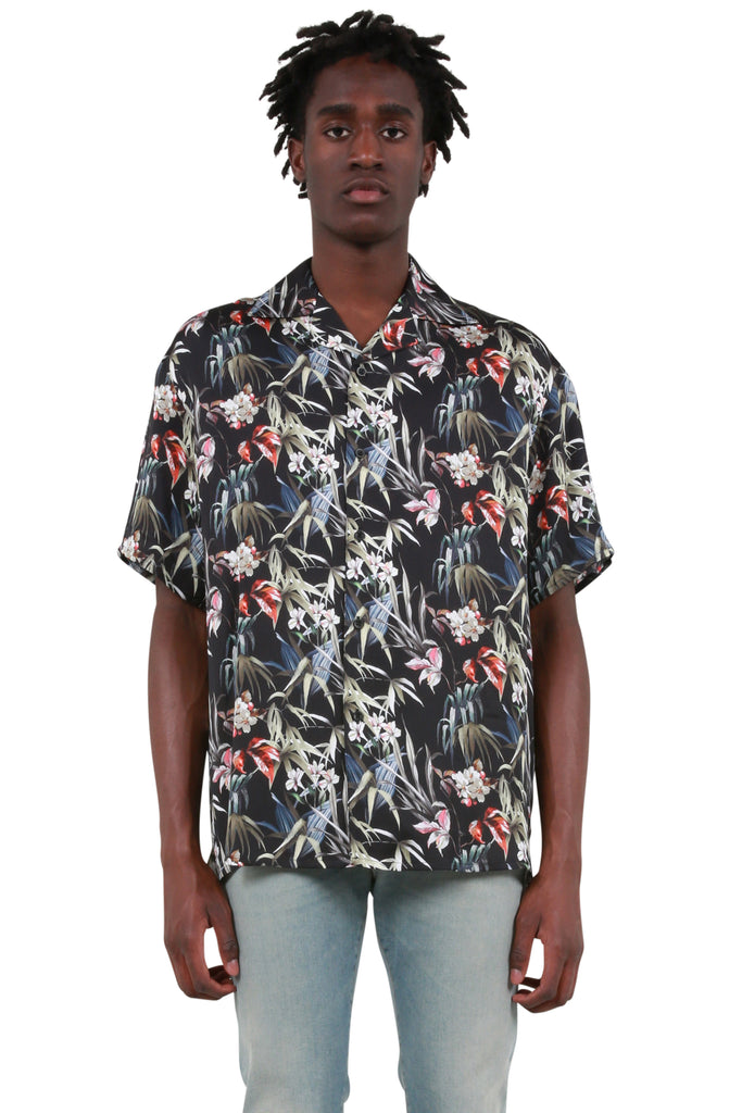 REPRESENT CLO: Camp Collar Shirt - Black Floral | LESSONS