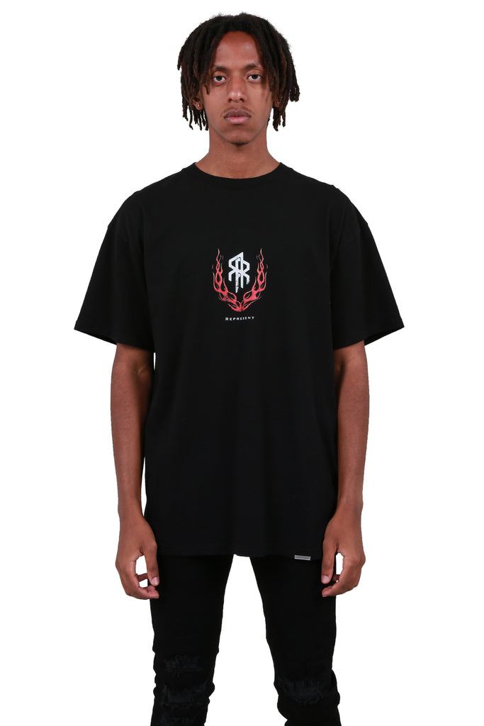 Flaming Double R T-shirt - Black