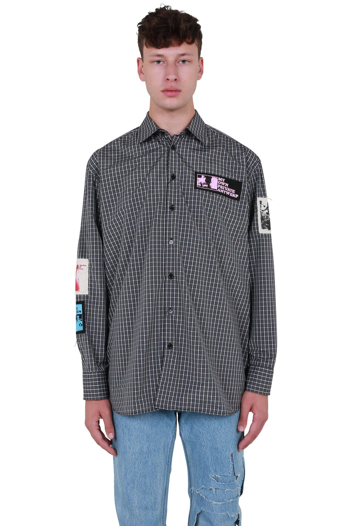 Oversized Shirt with Patches - Black/White Check