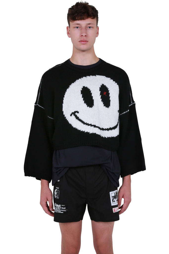 Oversized Smiley Sweater - Black