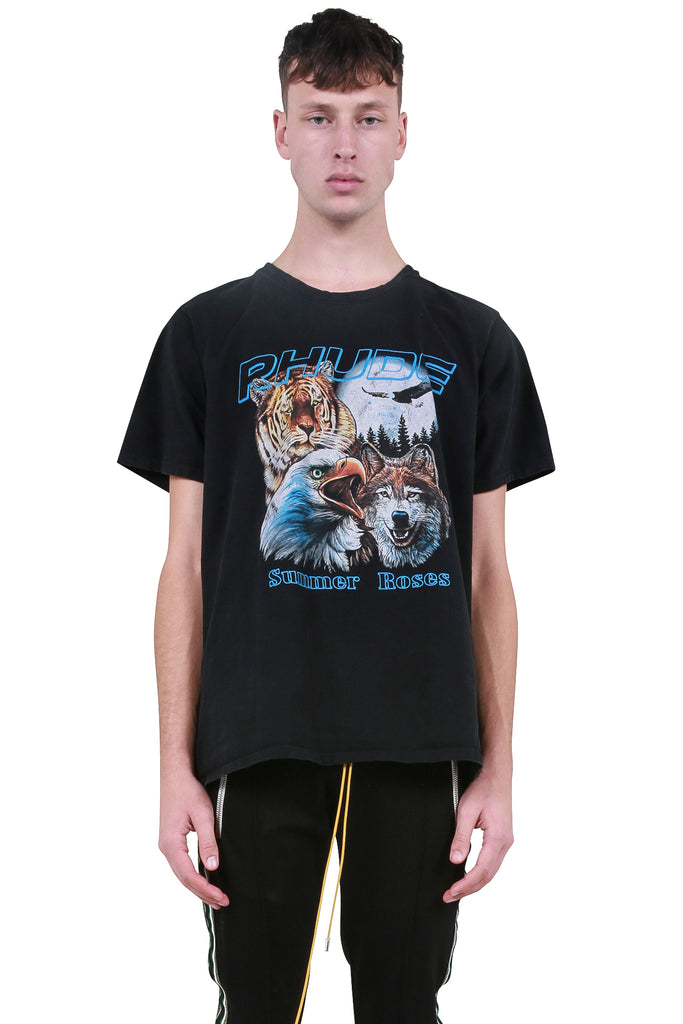 RHUDE: Animals T-Shirt - Black | LESSONS