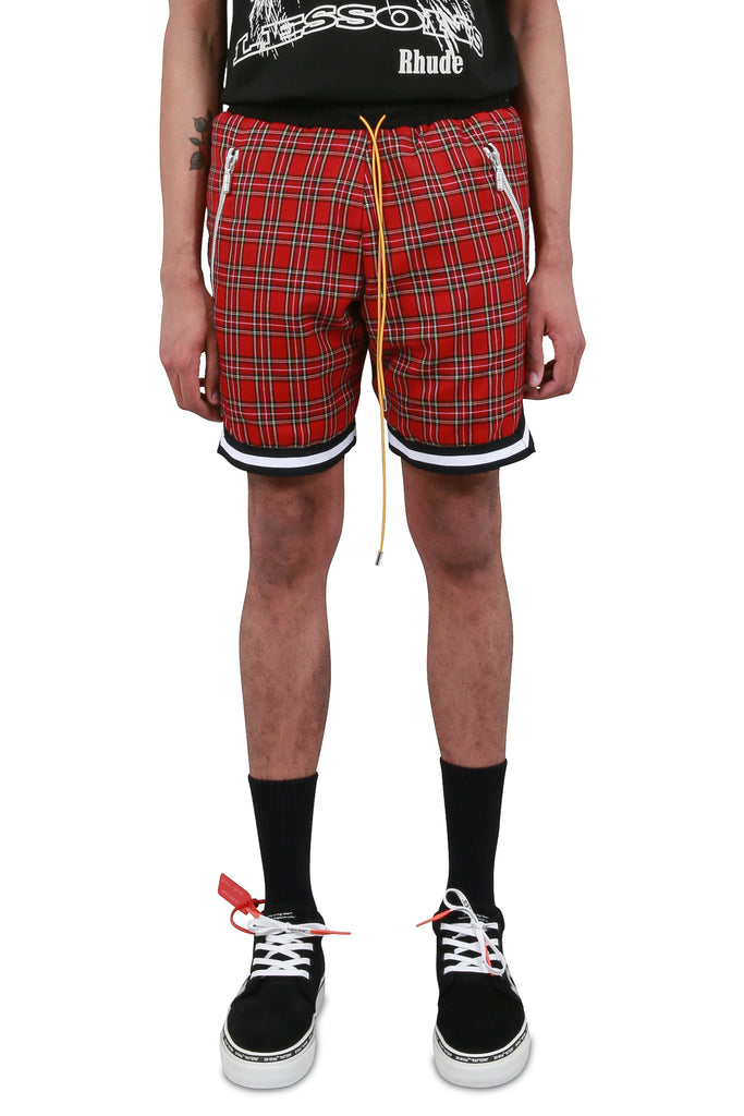 Plaid Basketball Shorts - Red