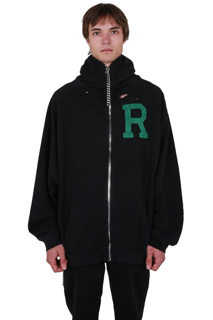 Oversized Zip Hoodie with Badge & Print
