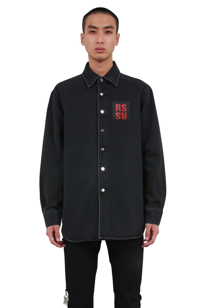 Slim Fit Denim Shirt - Black