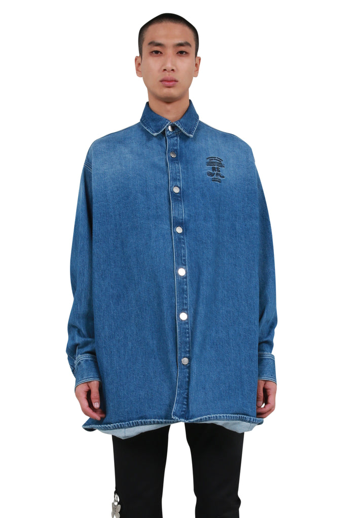 Embroidered Big Fit Denim Shirt - Navy