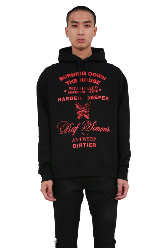 RAF SIMONS: Burning Down Hoodie - Black | LESSONS