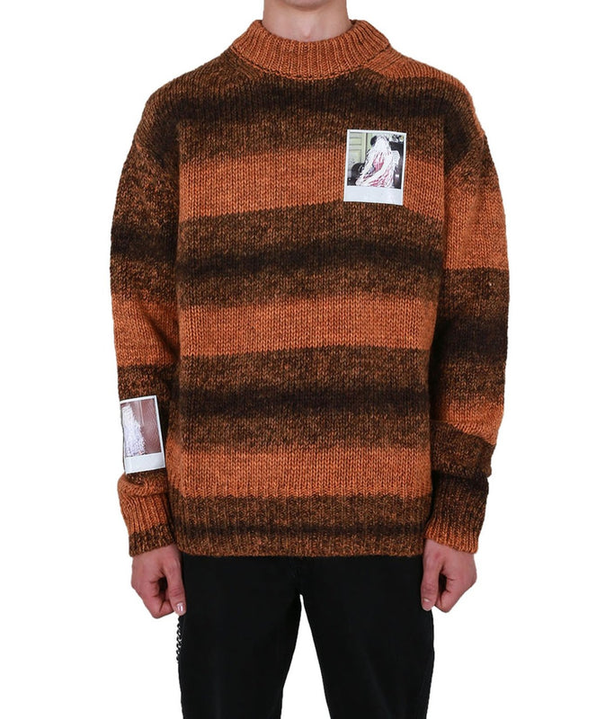 Striped Round Neck Sweater with Polaroids
