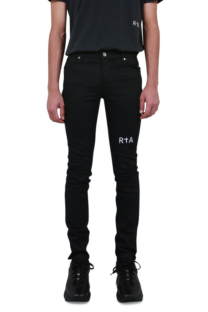 Pintuck Skinny Jean - Raw Black