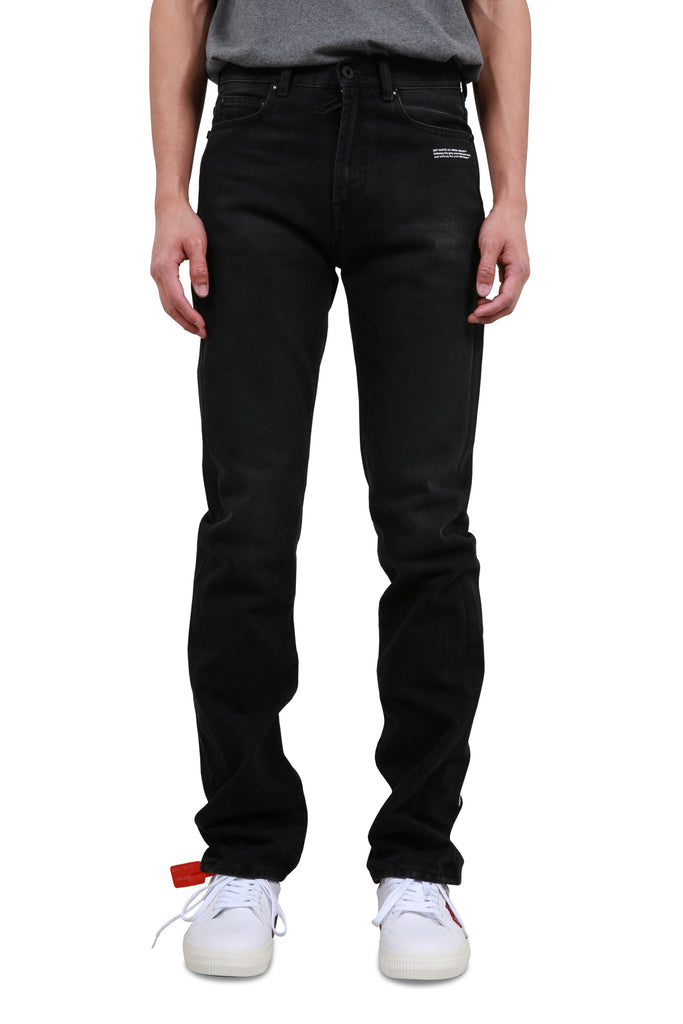 Diagonal Relaxed Tapered Jeans - Black