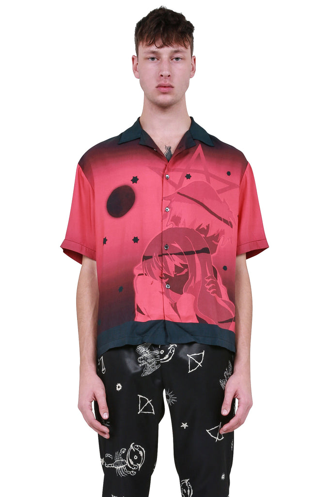 SIBERIA HILLS: Blood Moon Button-Down Shirt - Black/Red | LESSONS