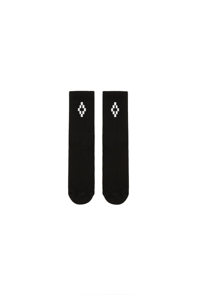 MARCELO BURLON: Cross Short Socks - Black/White | LESSONS