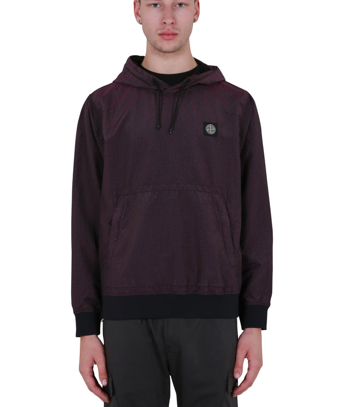 Metallic Drawstring Hoodie - Purple