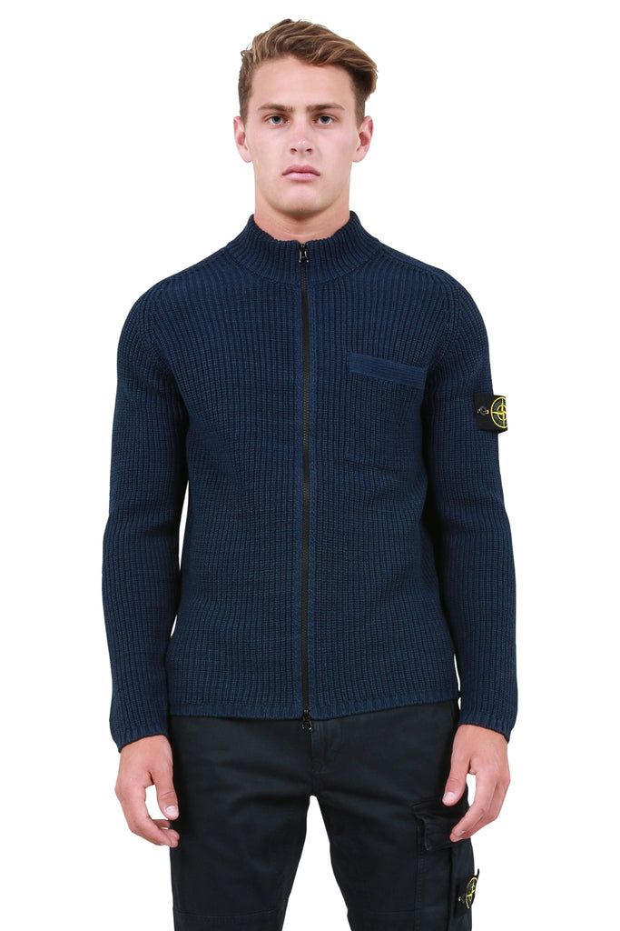 Knit Zip-Up Cardigan - Midnight Blue