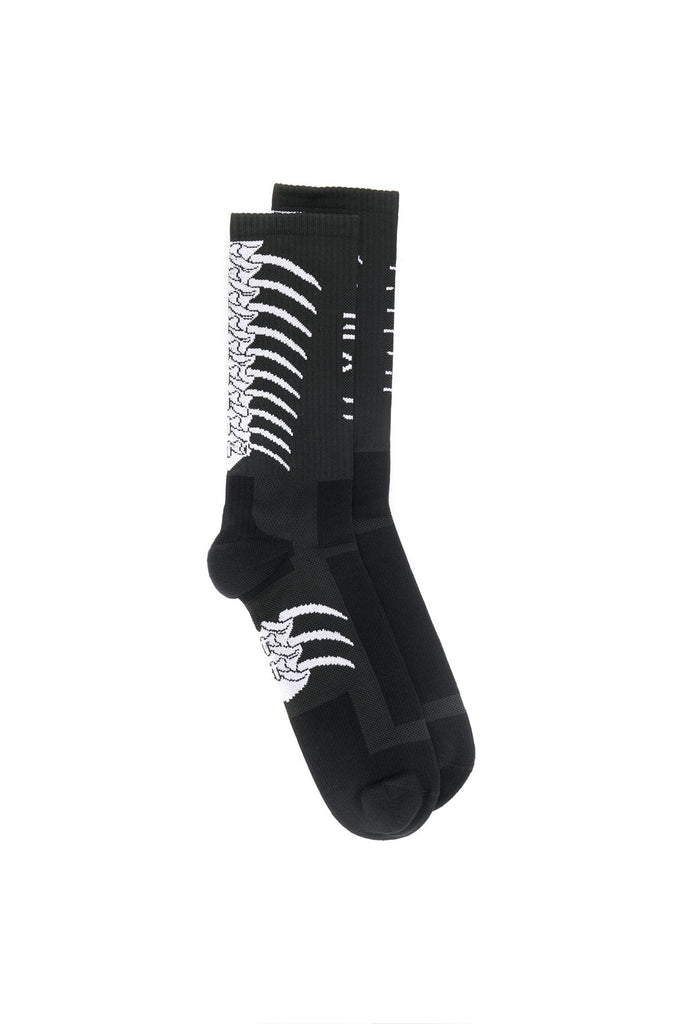 Back Bone Mid-high Socks - Black White
