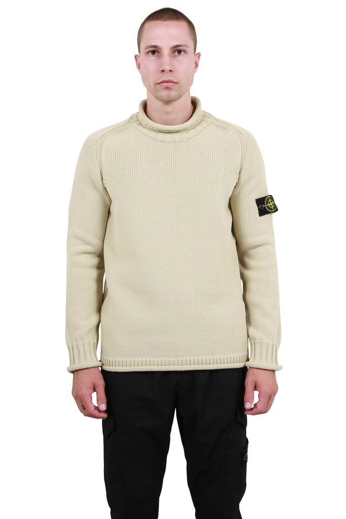 Mock Neck Knit Sweater - Beige