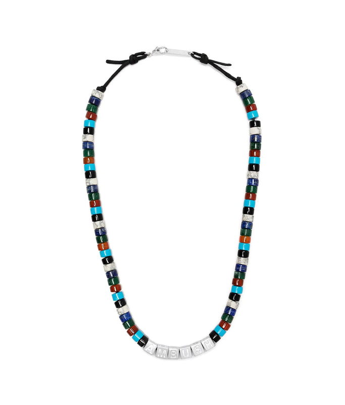 Stone Beads Necklace - Silver/Multi